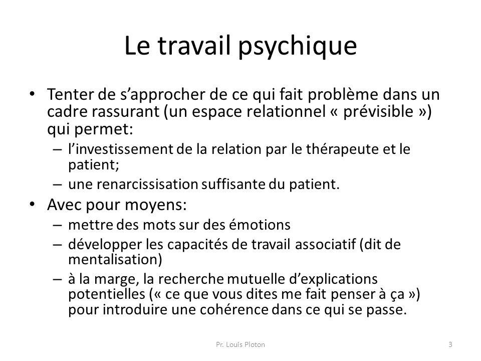 Le travail psychique Tenter de s'approcher de ce qui fait problème dans un cadre rassurant (un espace relationnel « prévisible ») qui permet: