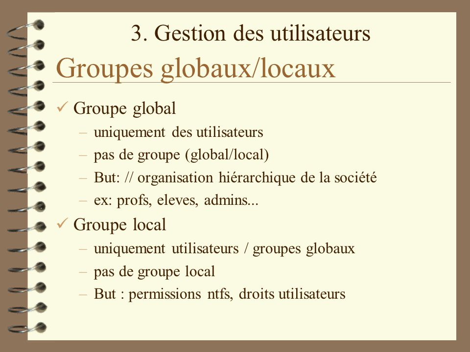 Groupes globaux/locaux