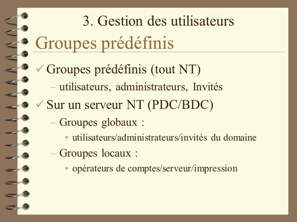Groupes prédéfinis Groupes prédéfinis (tout NT)