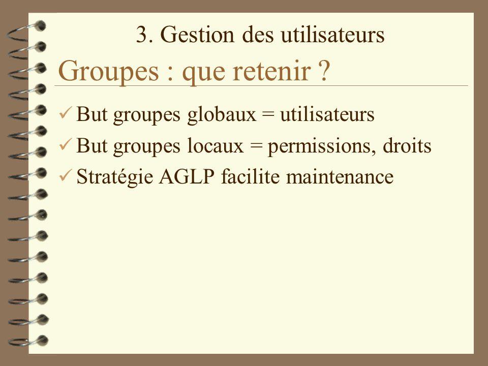 Groupes : que retenir But groupes globaux = utilisateurs