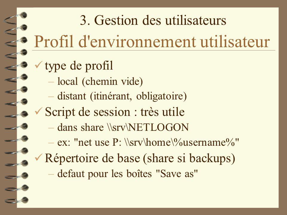 Profil d environnement utilisateur