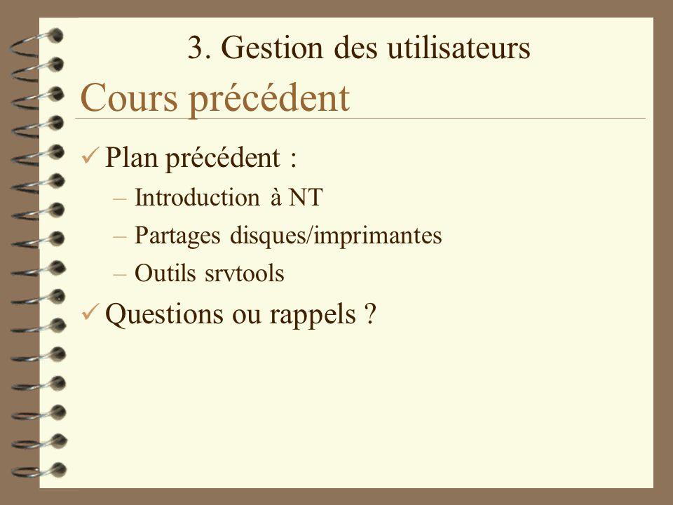 Cours précédent Plan précédent : Questions ou rappels