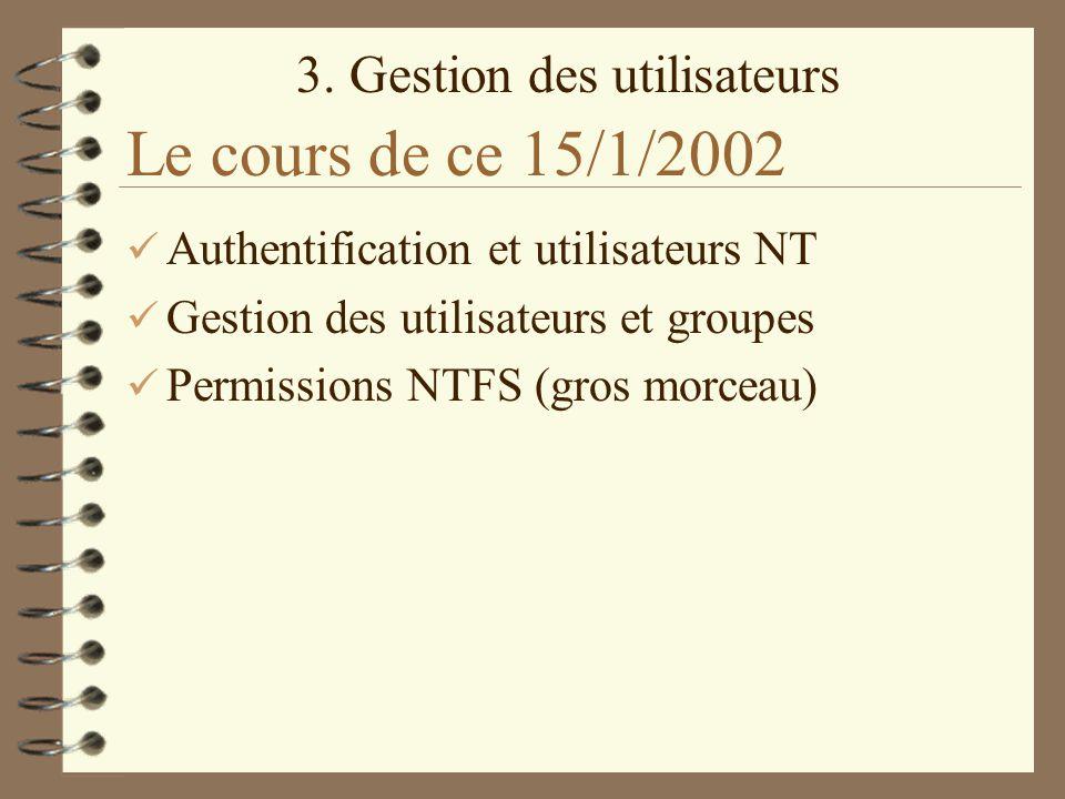Le cours de ce 15/1/2002 Authentification et utilisateurs NT