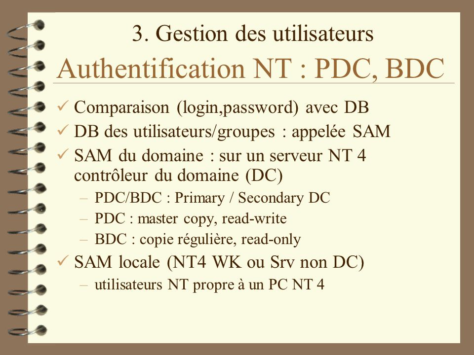 Authentification NT : PDC, BDC