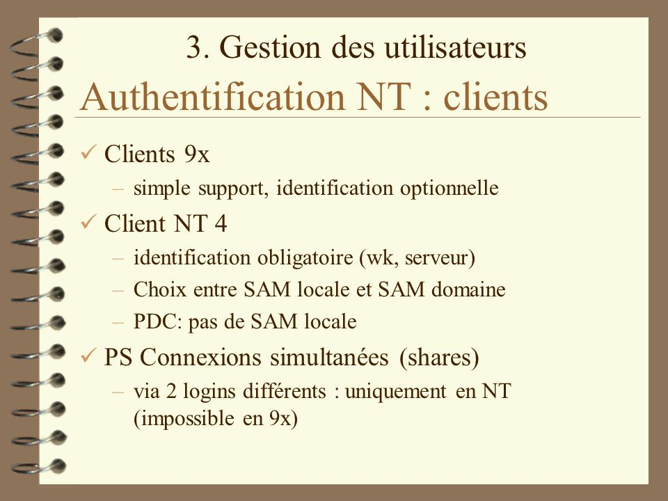 Authentification NT : clients