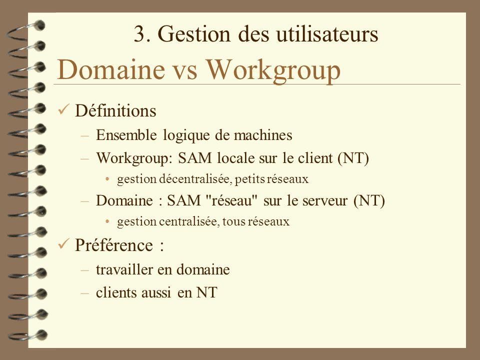 Domaine vs Workgroup Définitions Préférence :