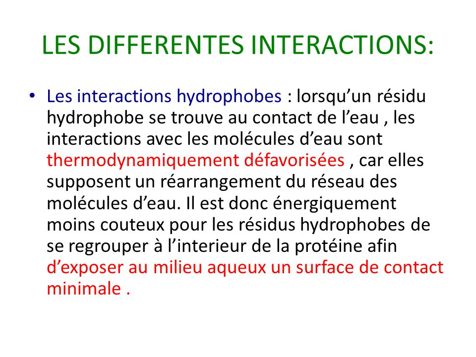 LES DIFFERENTES INTERACTIONS:
