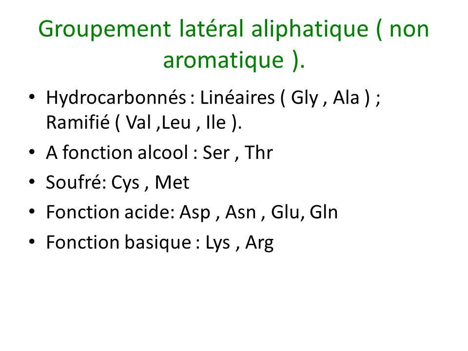 Groupement latéral aliphatique ( non aromatique ).