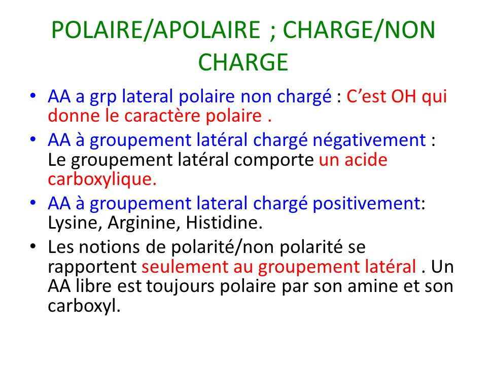 POLAIRE/APOLAIRE ; CHARGE/NON CHARGE