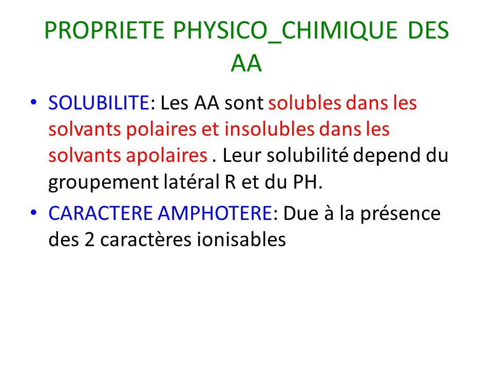 PROPRIETE PHYSICO_CHIMIQUE DES AA