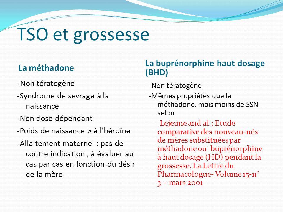 TSO et grossesse La buprénorphine haut dosage (BHD) La méthadone