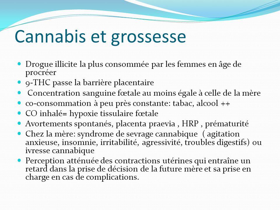 Cannabis et grossesse Drogue illicite la plus consommée par les femmes en âge de procréer. 9-THC passe la barrière placentaire.