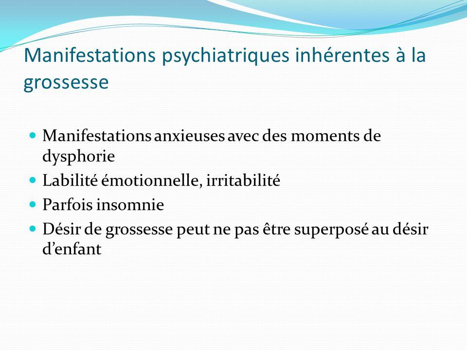Manifestations psychiatriques inhérentes à la grossesse