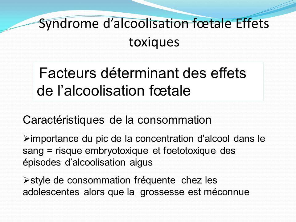 Syndrome d'alcoolisation fœtale Effets toxiques
