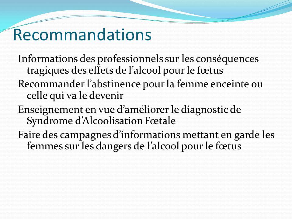 Recommandations Informations des professionnels sur les conséquences tragiques des effets de l'alcool pour le fœtus.
