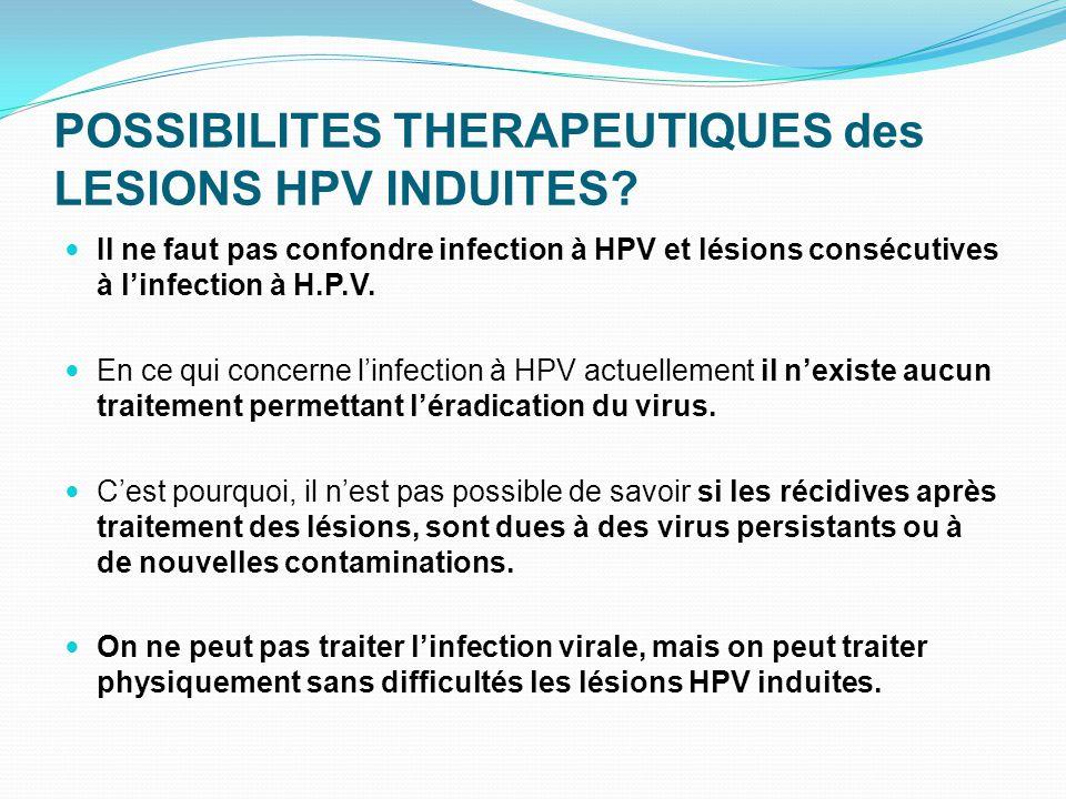 POSSIBILITES THERAPEUTIQUES des LESIONS HPV INDUITES