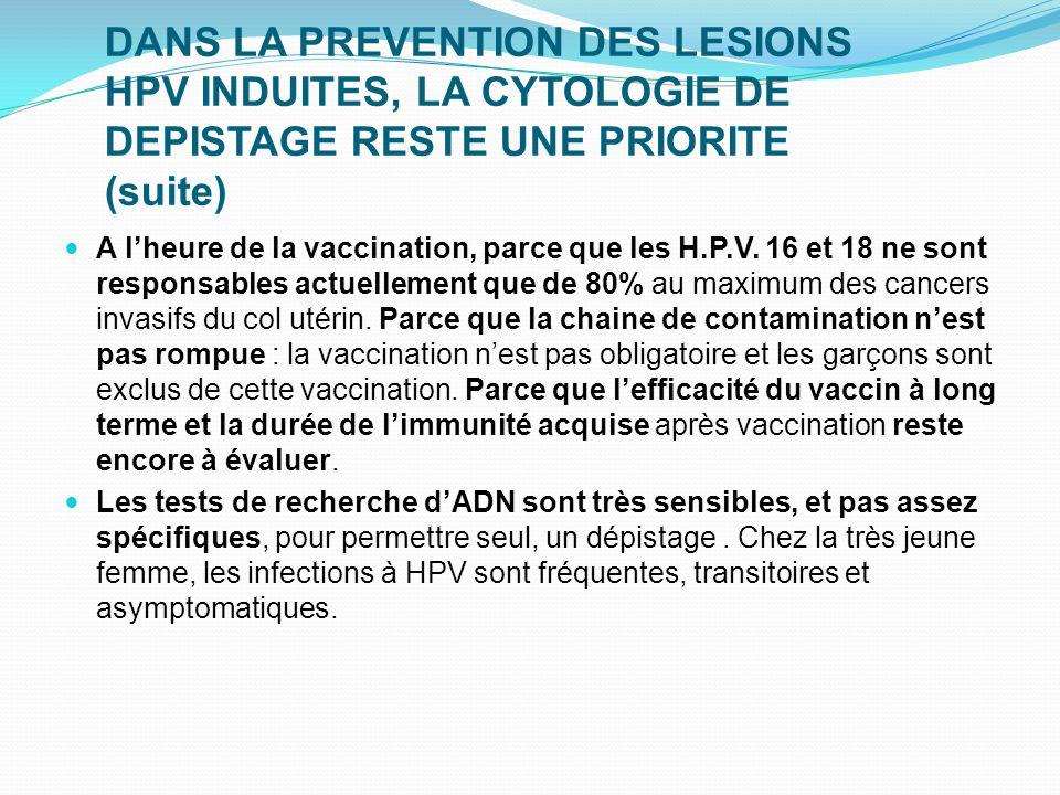 DANS LA PREVENTION DES LESIONS HPV INDUITES, LA CYTOLOGIE DE DEPISTAGE RESTE UNE PRIORITE (suite)