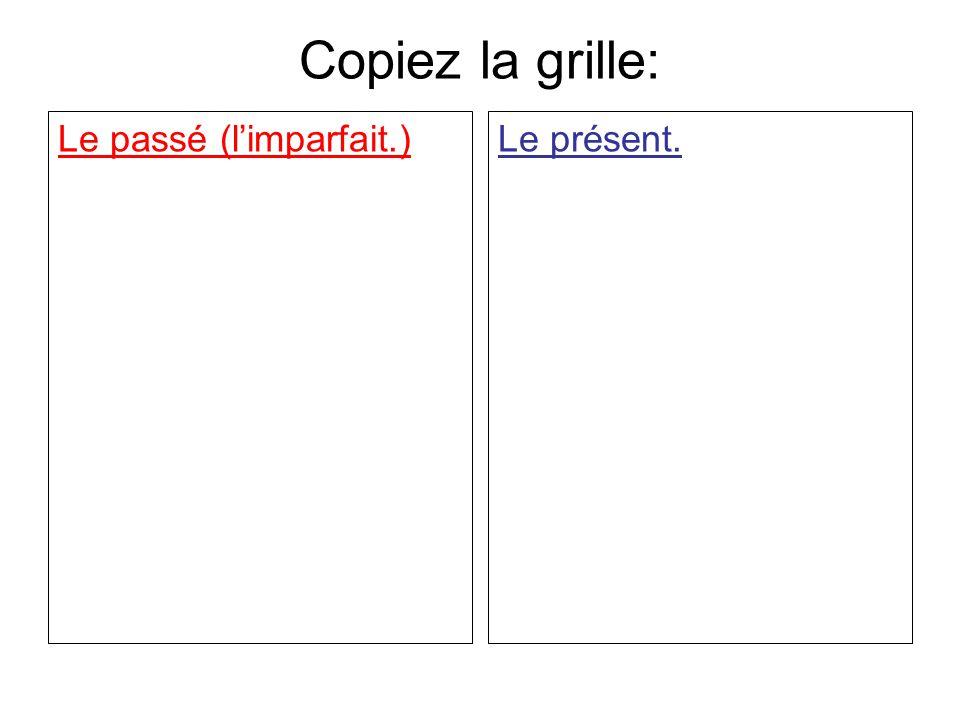 Copiez la grille: Le passé (l'imparfait.) Le présent.