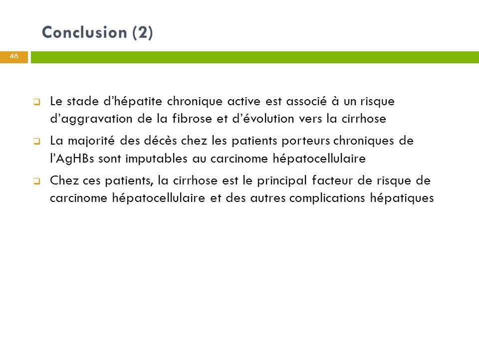 Conclusion (2) Le stade d'hépatite chronique active est associé à un risque d'aggravation de la fibrose et d'évolution vers la cirrhose.