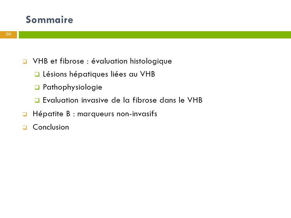 Sommaire VHB et fibrose : évaluation histologique