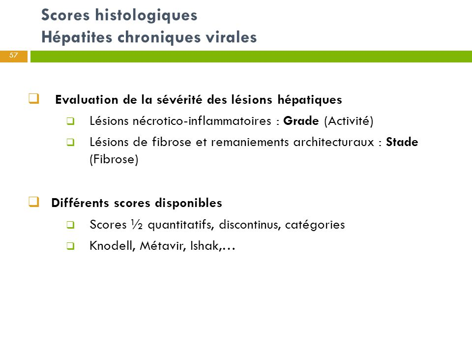 Scores histologiques Hépatites chroniques virales