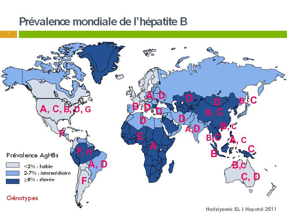 Prévalence mondiale de l'hépatite B
