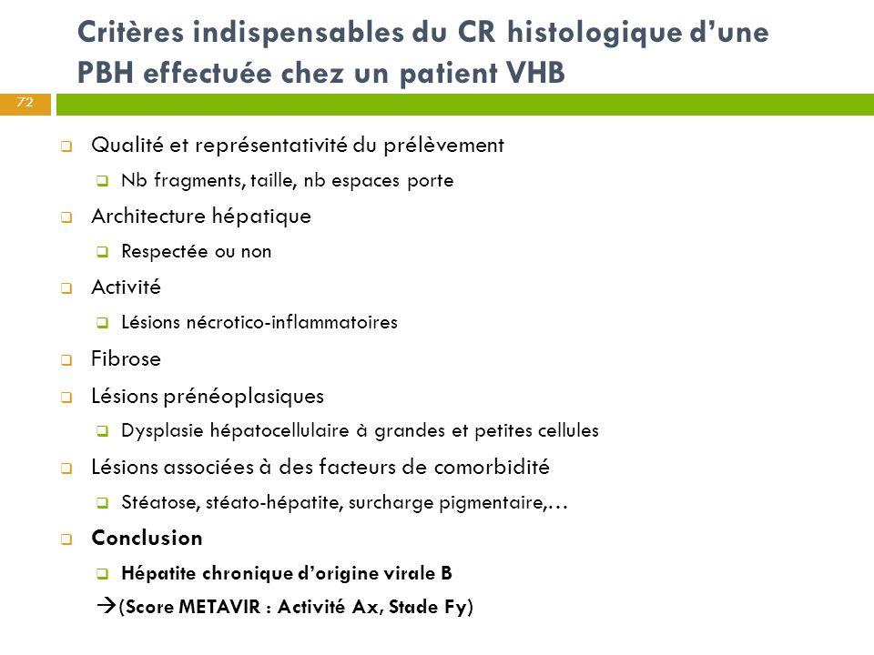 Critères indispensables du CR histologique d'une PBH effectuée chez un patient VHB