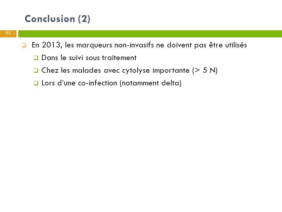 Conclusion (2) En 2013, les marqueurs non-invasifs ne doivent pas être utilisés. Dans le suivi sous traitement.