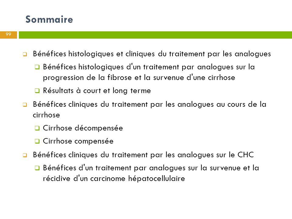 Sommaire Bénéfices histologiques et cliniques du traitement par les analogues.