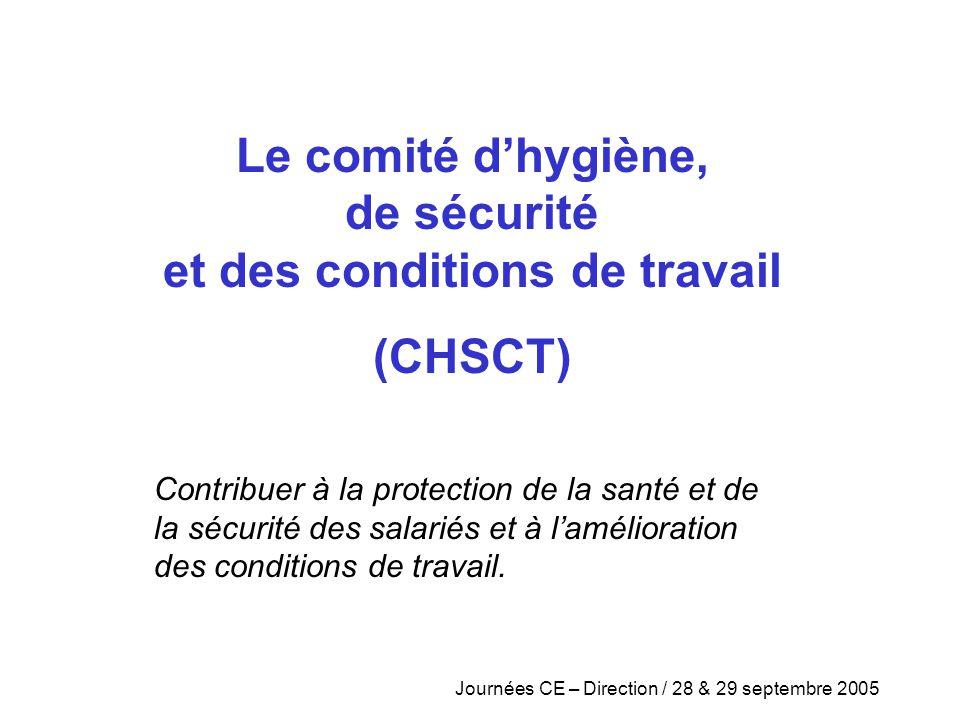 Le comité d'hygiène, de sécurité et des conditions de travail