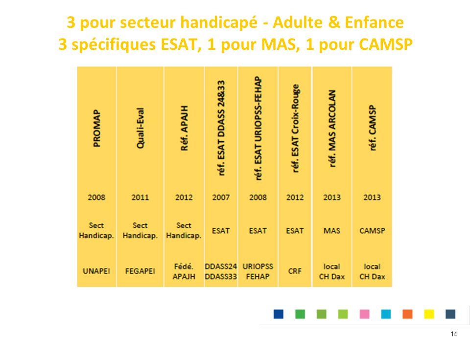 3 pour secteur handicapé - Adulte & Enfance 3 spécifiques ESAT, 1 pour MAS, 1 pour CAMSP