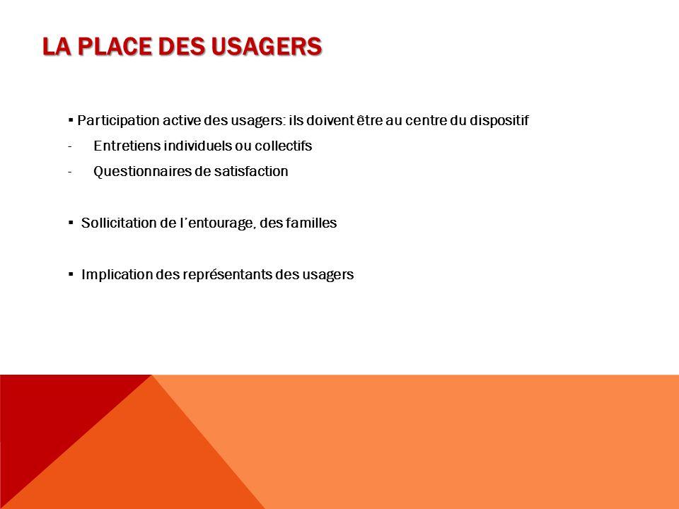 LA PLACE DES USAGERS ▪ Participation active des usagers: ils doivent être au centre du dispositif. Entretiens individuels ou collectifs.