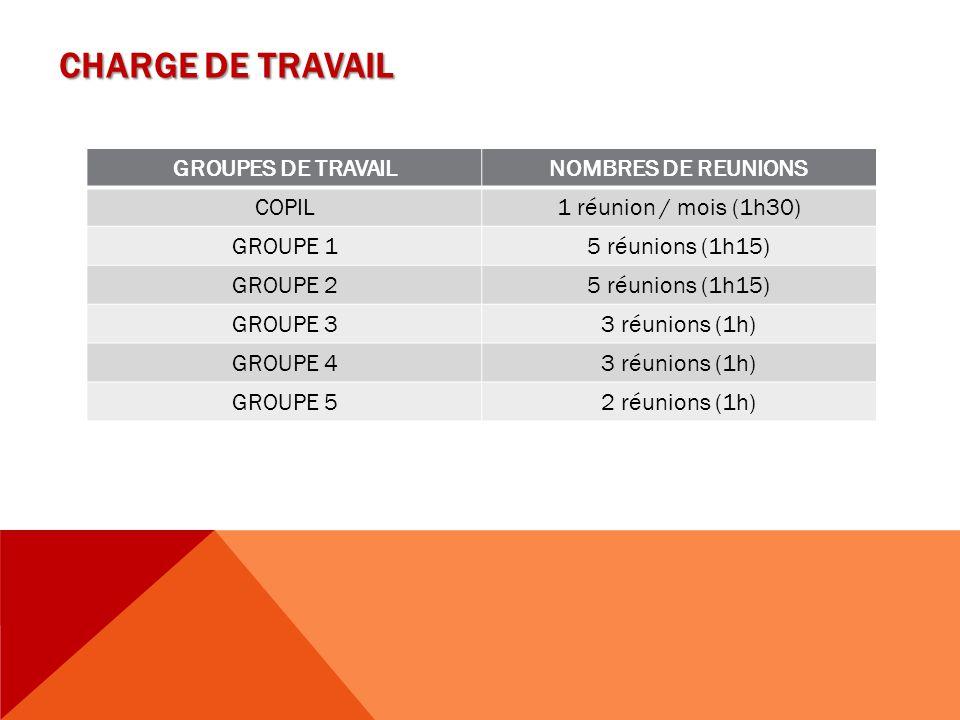 CHARGE DE TRAVAIL GROUPES DE TRAVAIL NOMBRES DE REUNIONS COPIL