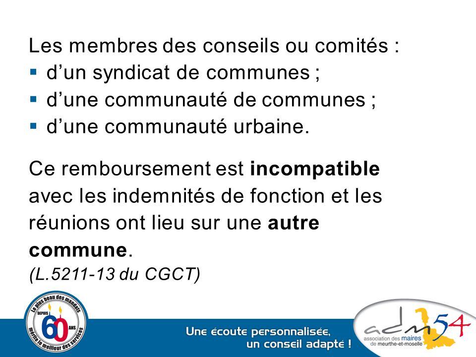 Les membres des conseils ou comités : d'un syndicat de communes ;