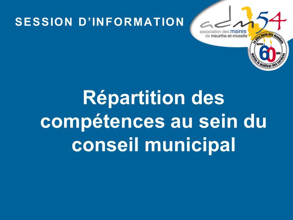 Répartition des compétences au sein du conseil municipal