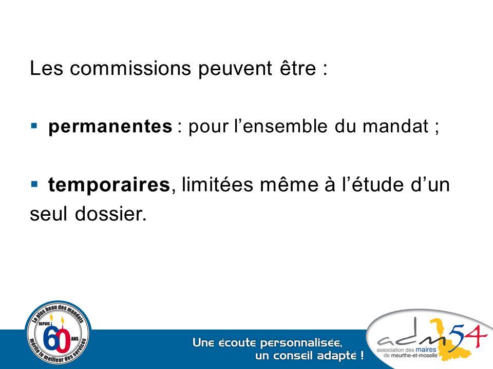 Les commissions peuvent être :