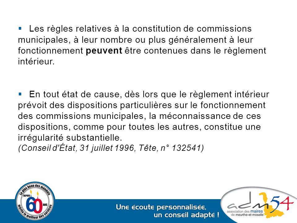 Les règles relatives à la constitution de commissions
