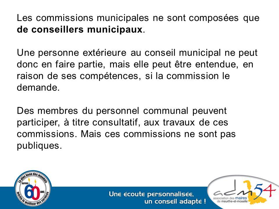 Les commissions municipales ne sont composées que