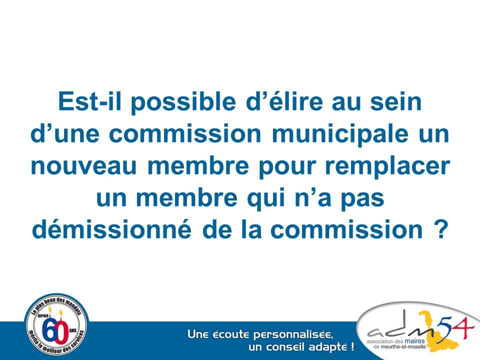 Est-il possible d'élire au sein d'une commission municipale un nouveau membre pour remplacer un membre qui n'a pas démissionné de la commission