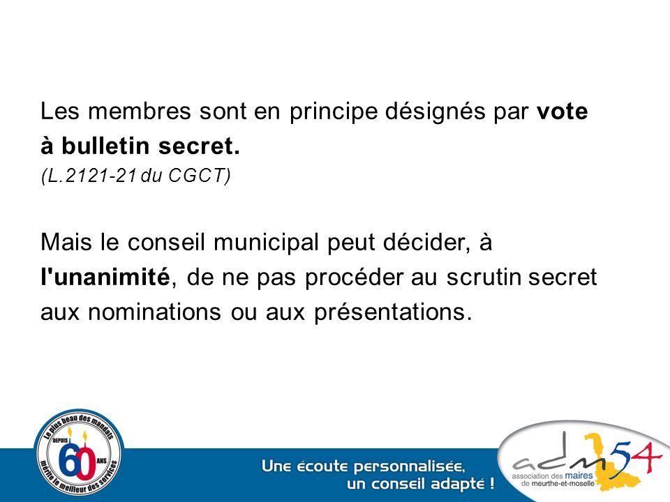 Les membres sont en principe désignés par vote à bulletin secret.