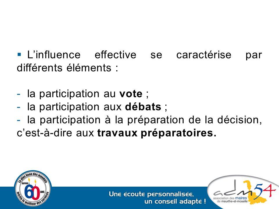 L'influence effective se caractérise par différents éléments :
