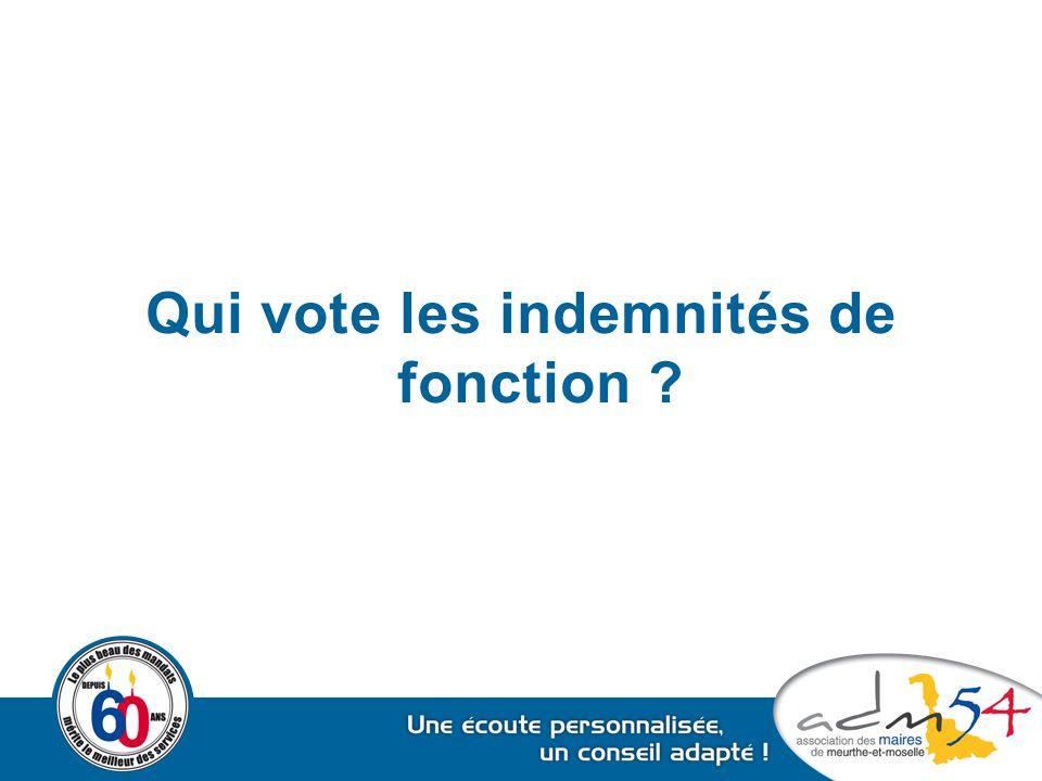 Qui vote les indemnités de fonction