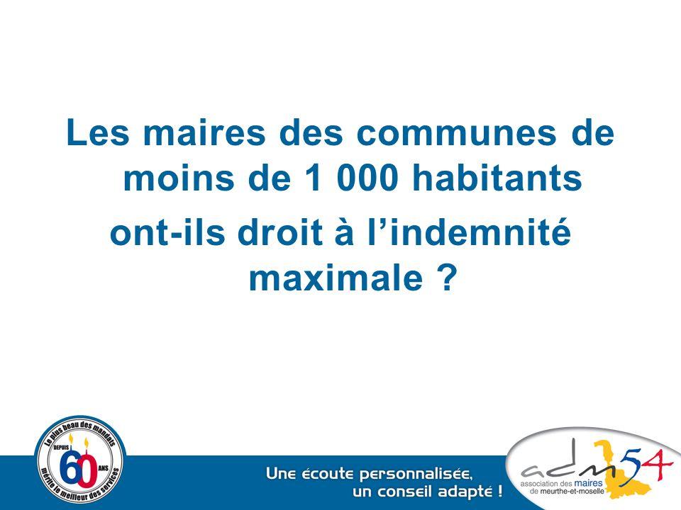 Les maires des communes de moins de 1 000 habitants ont-ils droit à l'indemnité maximale