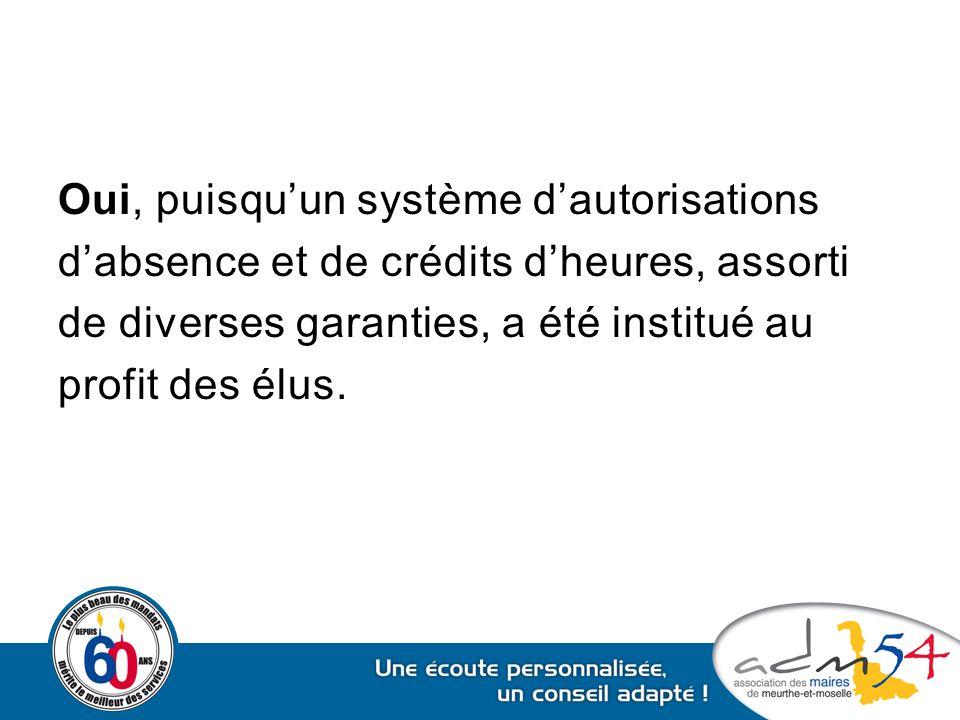 Oui, puisqu'un système d'autorisations d'absence et de crédits d'heures, assorti de diverses garanties, a été institué au profit des élus.
