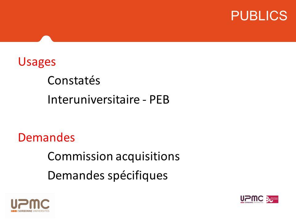 PUBLICS Usages Constatés Interuniversitaire - PEB Demandes Commission acquisitions Demandes spécifiques