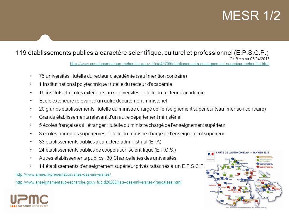 MESR 1/2 119 établissements publics à caractère scientifique, culturel et professionnel (E.P.S.C.P.)