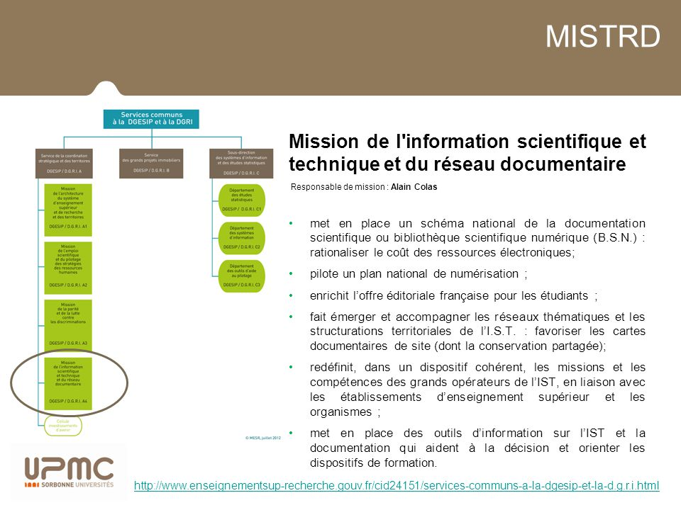 MISTRD Mission de l information scientifique et technique et du réseau documentaire. Responsable de mission : Alain Colas.