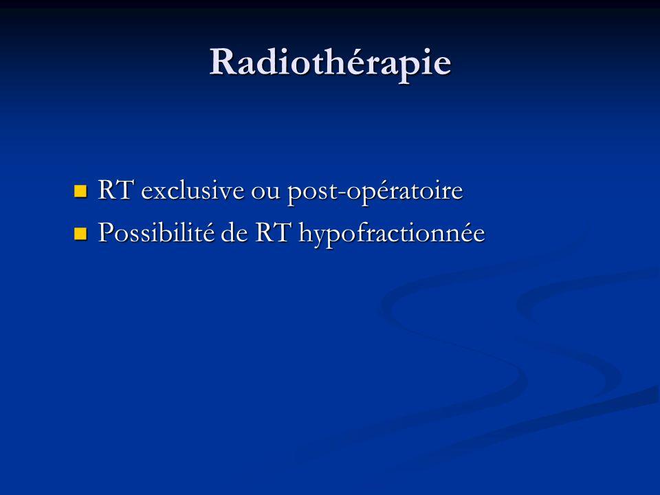 Radiothérapie RT exclusive ou post-opératoire