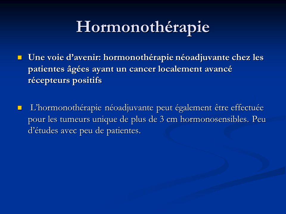 Hormonothérapie Une voie d'avenir: hormonothérapie néoadjuvante chez les patientes âgées ayant un cancer localement avancé récepteurs positifs.