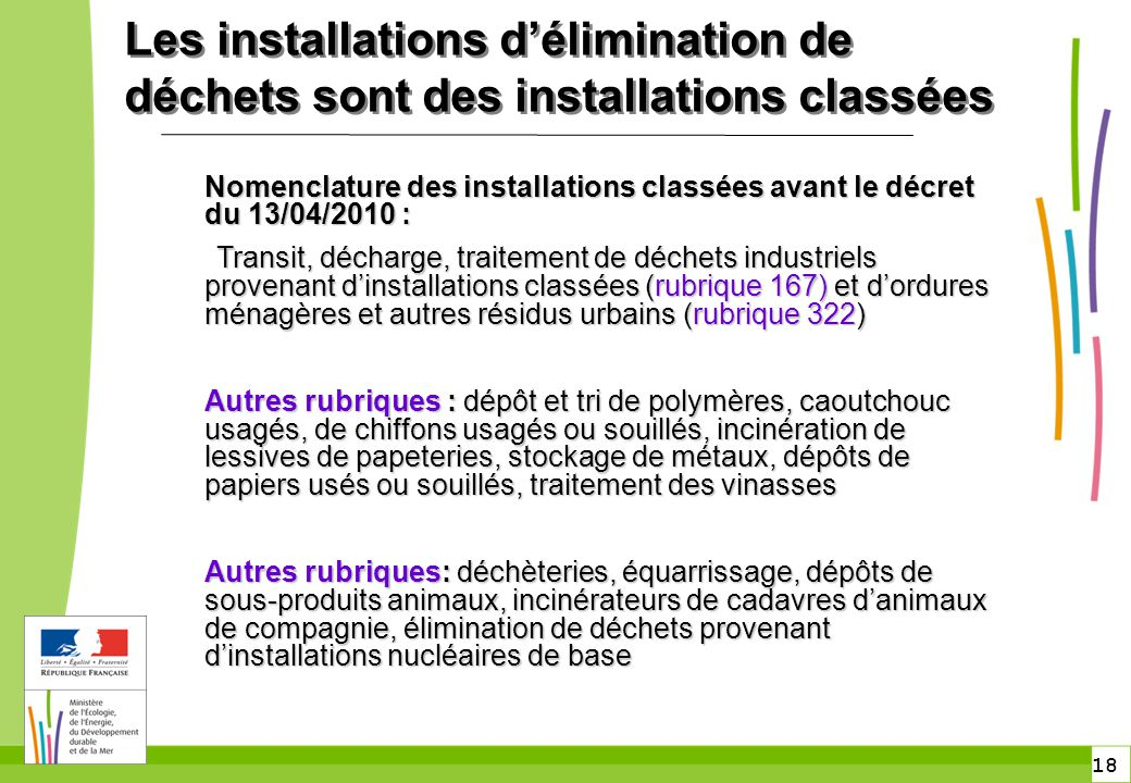 Les installations d'élimination de déchets sont des installations classées